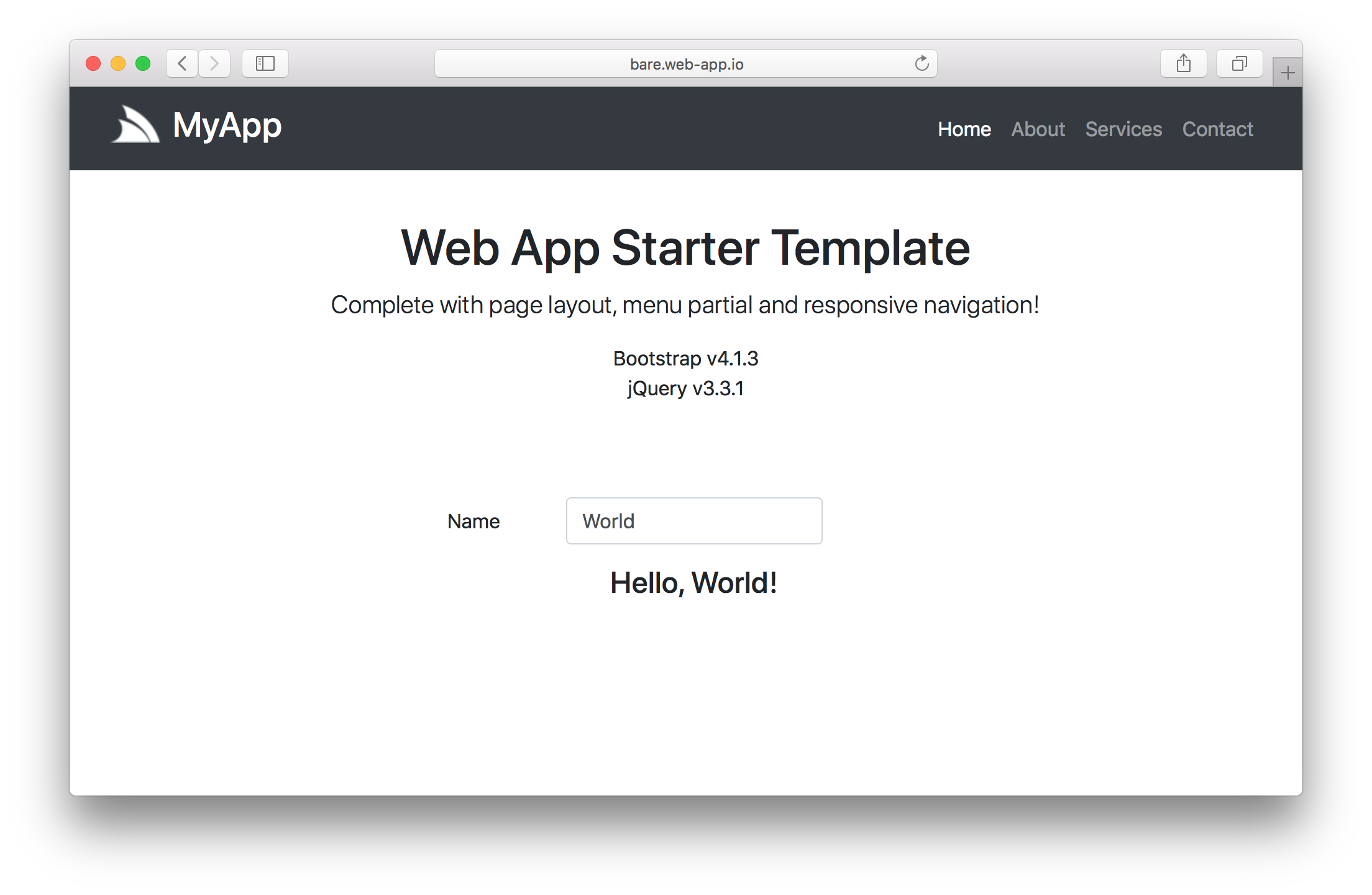 Bare WebApp screenshot